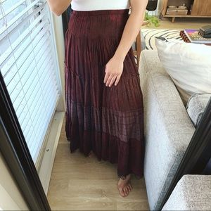 Chico's Tiered Bohemian Maxi Skirt Size 1